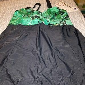 NWT Carol Wier swim dress, Sz 26 plus woman, jade